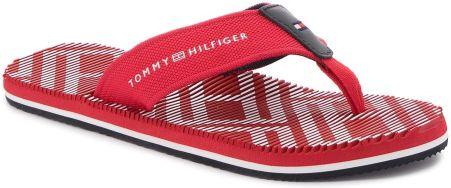 745880a6898d6 Japonki TOMMY HILFIGER - Corporate Stripe Beach Sandal FM0FM01366 Tango Red  611 eobuwie