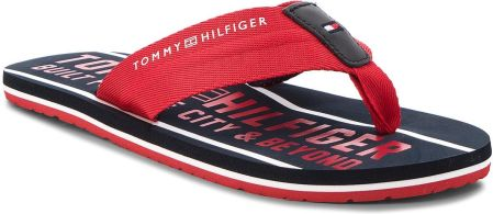 83f880b6826c4 Japonki TOMMY HILFIGER - Smart Th Beach Sandal FM0FM01371 Tango Red 611  eobuwie