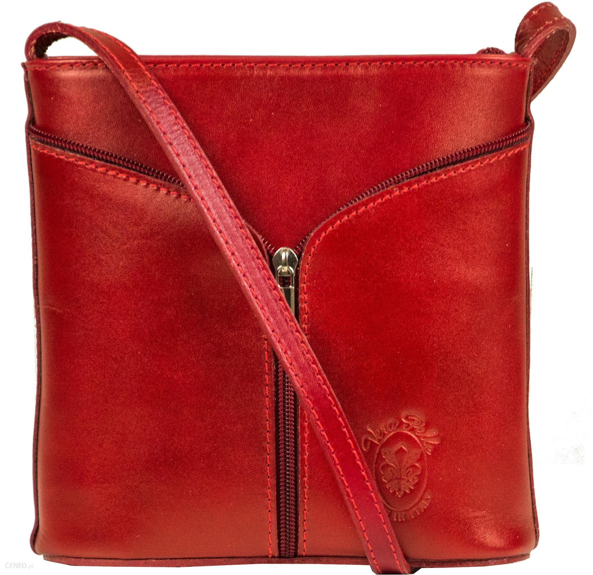 97600f3f152e0 Torebka włoska skórzana Genuine Leather Listonoszka 6160 bordowa - zdjęcie 1