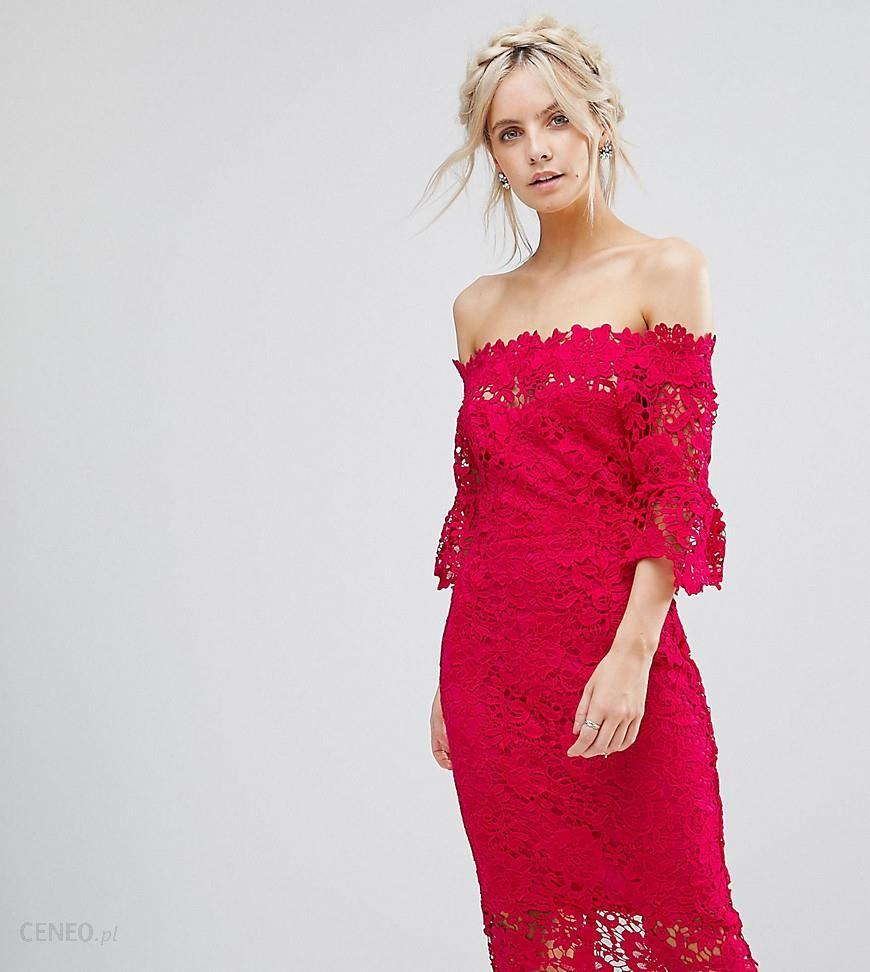 716b4d24daff Paper Dolls Petite off shoulder crochet midi dress with frill sleeve - Pink  - zdjęcie 1
