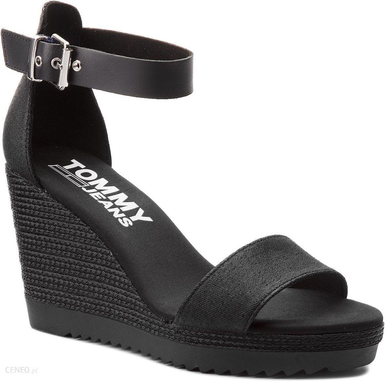 8075be8ca Espadryle TOMMY HILFIGER - JEANS Sporty Denim Wedge Sandal EN0EN00194 Black  990 - zdjęcie 1