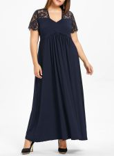 Lace Yoke Surplice Plus Size Maxi Dress