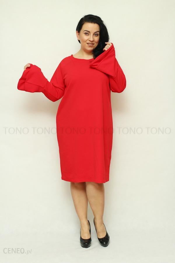 408585fd33 Czerwona sukienka damska CAMPA rozkloszowany rękaw duże rozmiary - czerwony  - zdjęcie 1