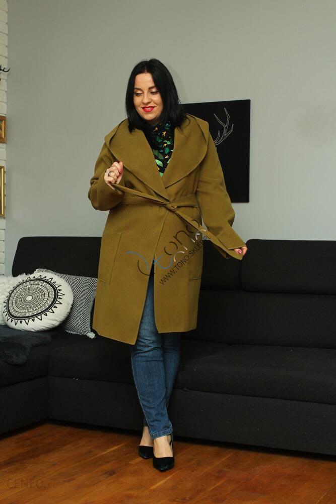 Damski płaszcz zielony z flauszu z kapturem