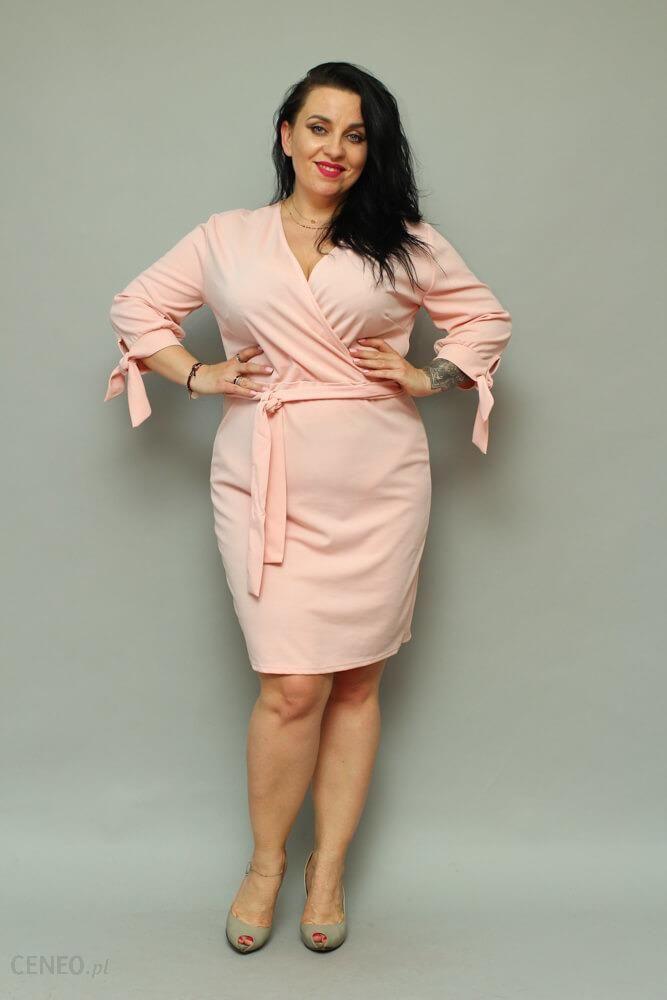1f21b0582a7eb Sukienka CIARRA Kopertowa Plus Size pudrowy róż - różowy - Ceny i ...