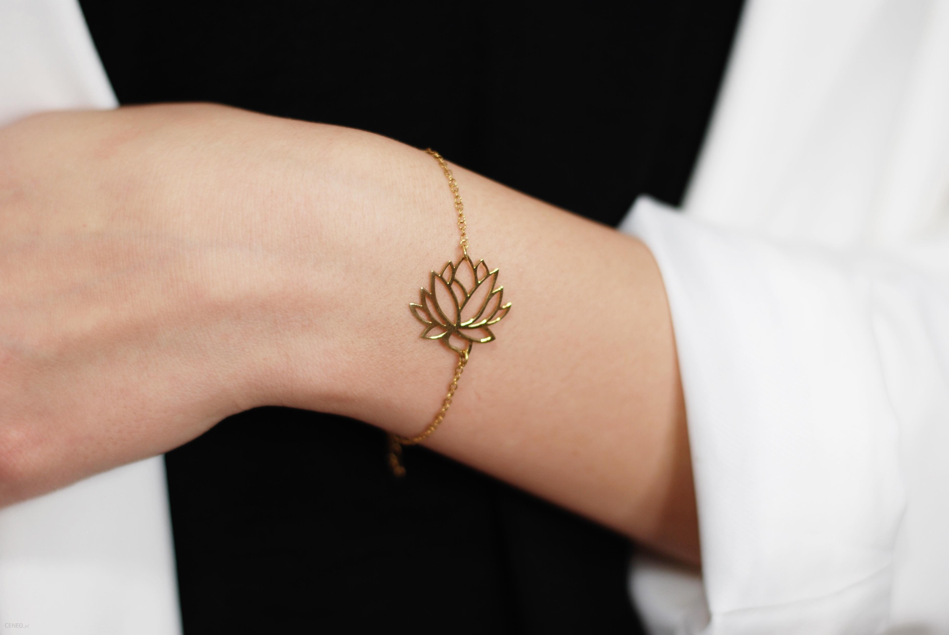 Atdiament Srebrna Pozłacana Bransoletka Z Kwiatem Lotosu Złoty Ceny I Opinie Ceneopl