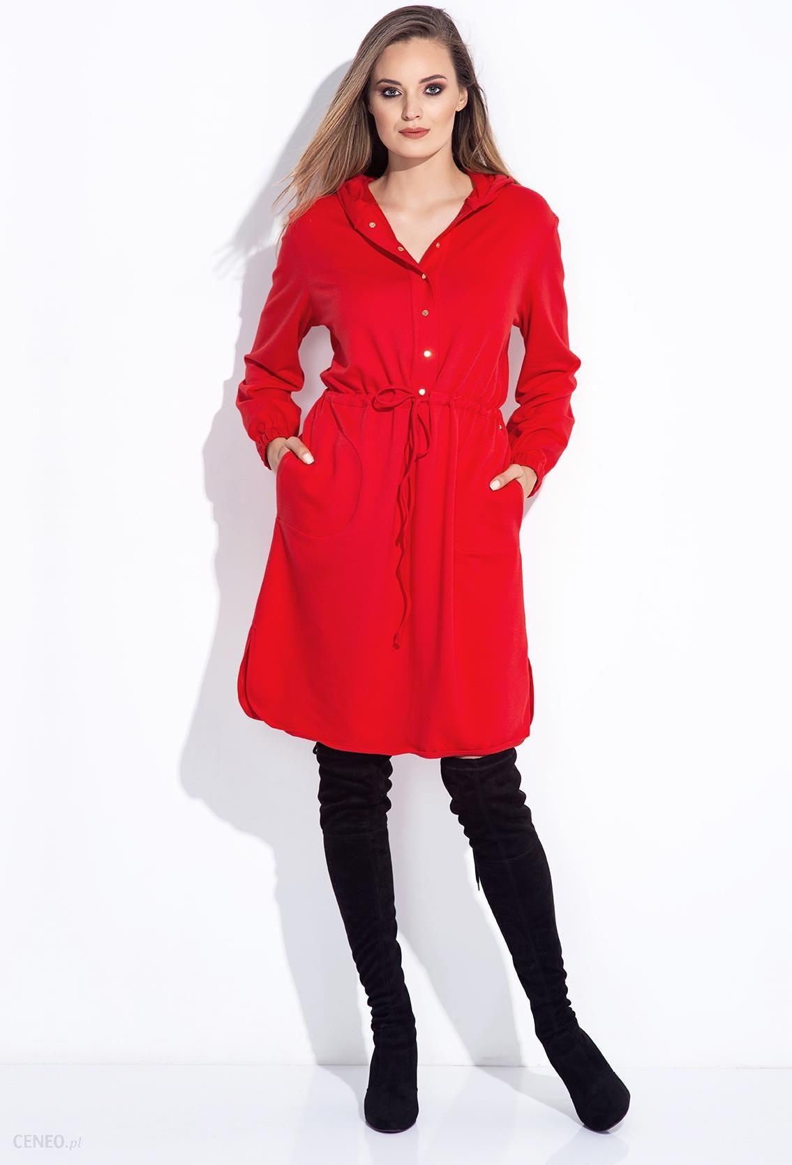 Bien Fashion Czerwona sukienka z koszulowa z kapturem Czerwony Ceny i opinie Ceneo.pl