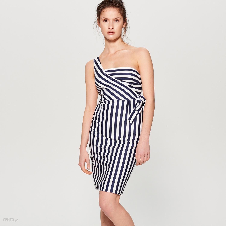 dd361dd004 Mohito - Asymetryczna sukienka z wiązaniem - Biały - Ceny i opinie ...
