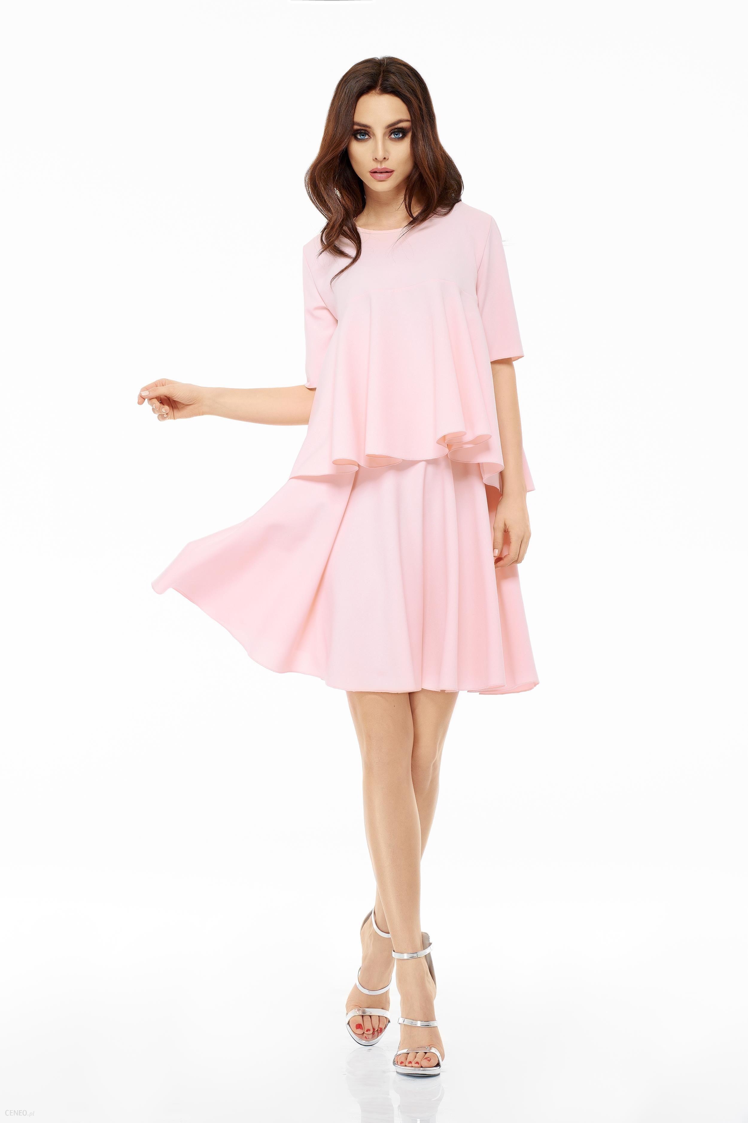 48d8097d50 Lemoniade LEMONIADE Rozkloszowana sukienka z falbanką L238 Różowy - zdjęcie  1