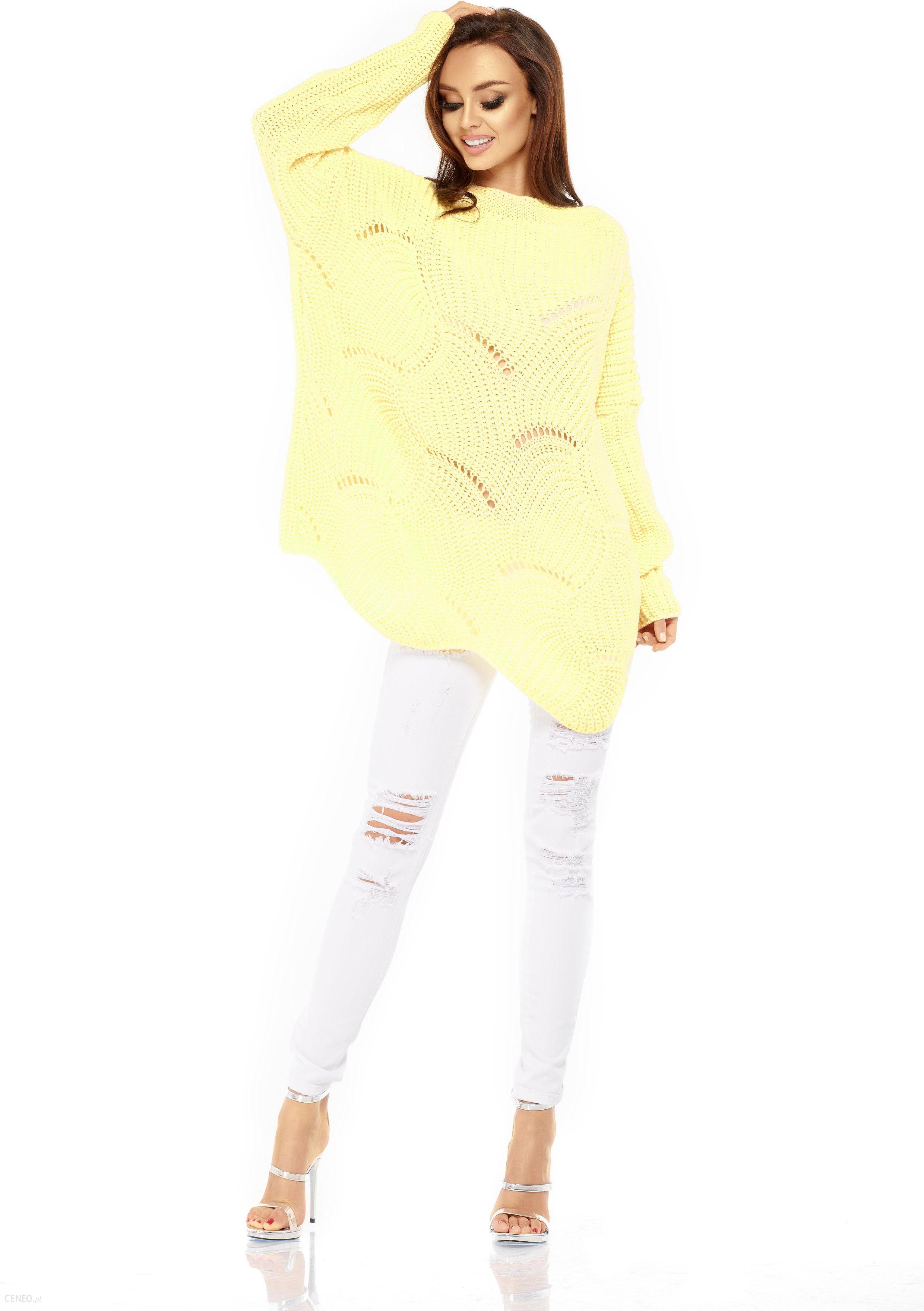 5e82f19d6b24f2 Lemoniade LEMONIADE LS209 Luźny sweter oversize Żółty - Ceny i ...