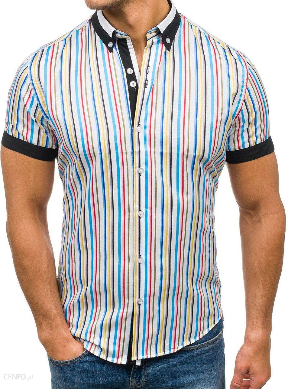 79b285352746 BY MIRZAD Koszula męska w paski z krótkim rękawem multikolor Denley 5204B -  zdjęcie 1