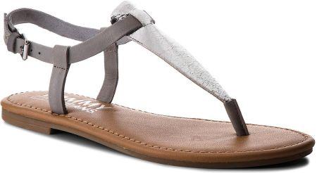 Sandały TOMMY HILFIGER - JEANS Metallic Flat Thong Sandal EN0EN00205 Silver  000 eobuwie f53b57858c