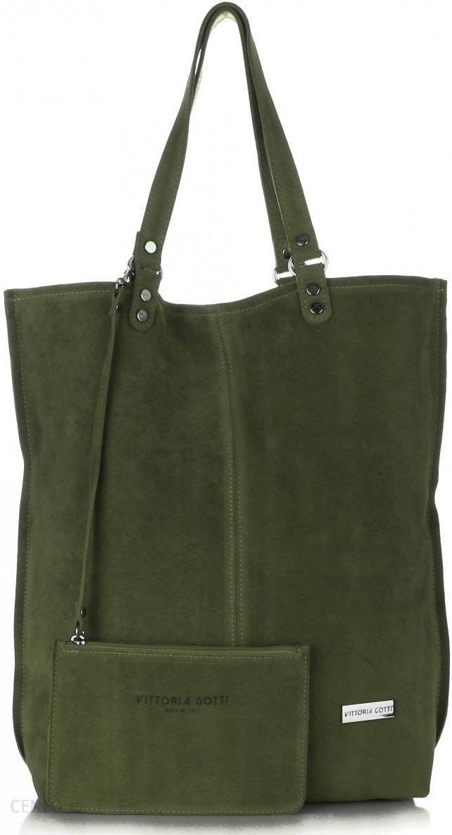 8c6d8c32b91dd Uniwersalna Torba Skórzana Firmowy Shopper Vittoria Gotti w rozmiarze XXL  Zamsz Naturalny wysokiej jakości Zielona -