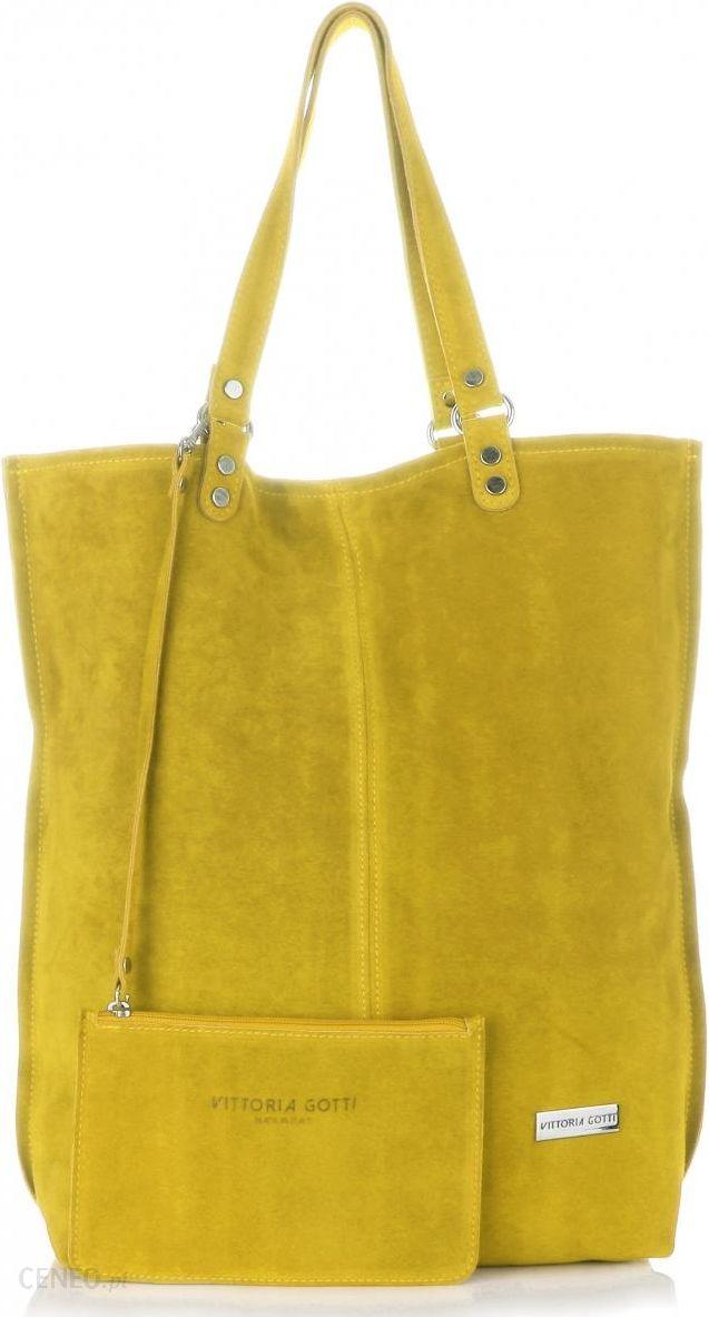 861659012e1be Uniwersalna Torba Skórzana Firmowy Shopper Vittoria Gotti w rozmiarze XXL  Zamsz Naturalny wysokiej jakości Żółta -