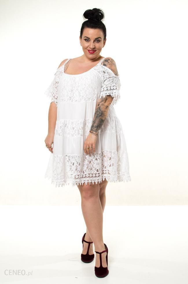 Biała Sukienka KLEO Koronka Plus Size biały Ceny i opinie Ceneo.pl