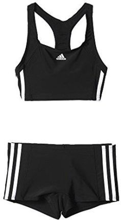 55b058fc68c08e Amazon adidas dziewczęce bikini Essence Core 3 Stripes, zestaw kąpielowy,  czarny, 140