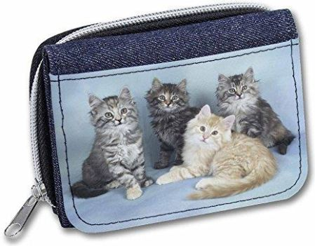 Amazon Cute Fluffy Kittens Girls/Ladies Cute Denim Purse Wallet Gift