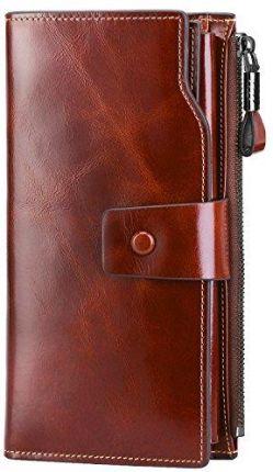 1c50af967fe80 Amazon - S-Zone damskie duża pojemność luksusowa skóra naturalna portfele z  zamkiem błyskawicznym kieszeń