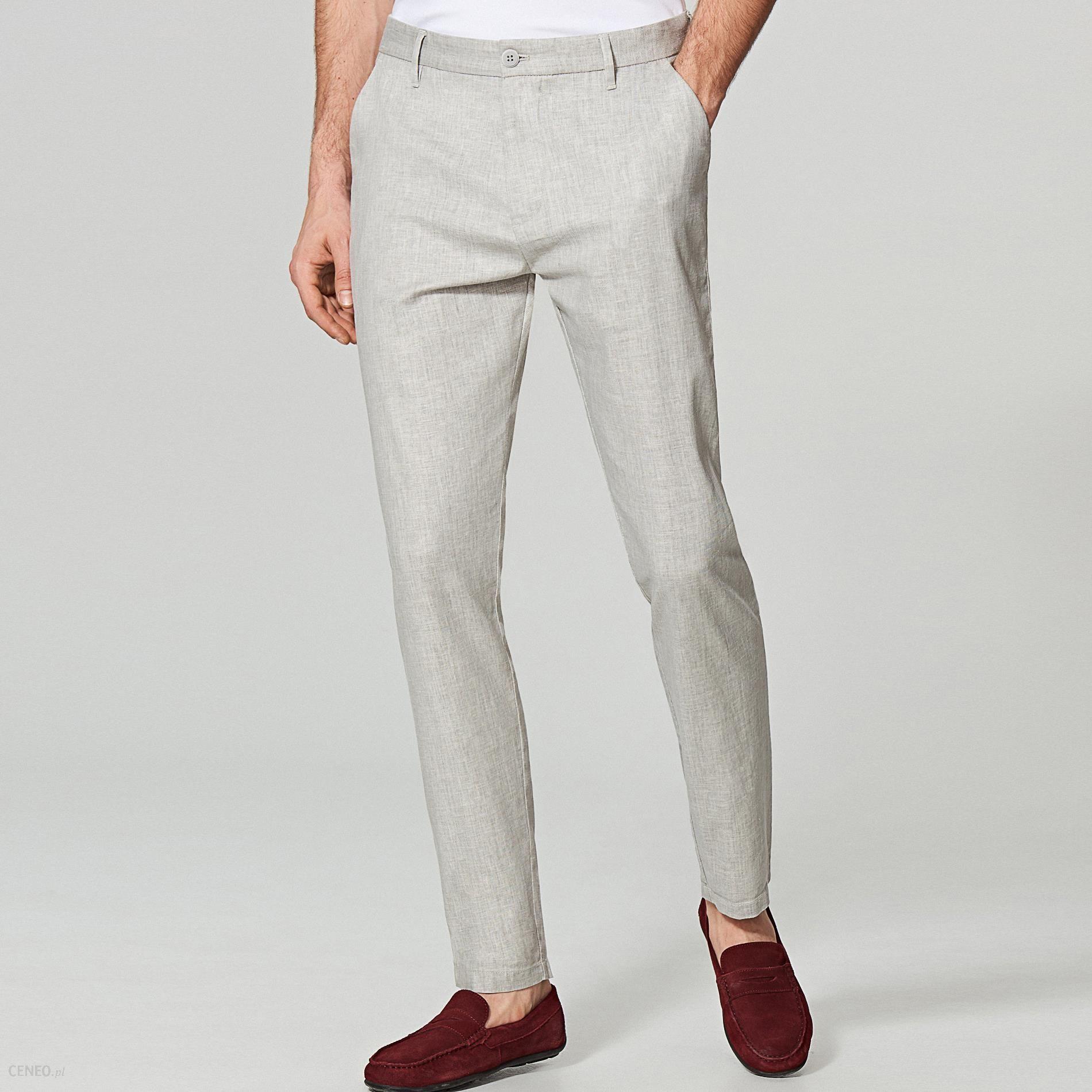 97381498cc0ec3 Reserved - Eleganckie spodnie chino slim fit - Jasny szar - Ceny i ...