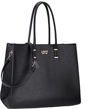 Amazon Li & HI elegancki torebki Torebka damska, torba czarna torba do ręki szkoła Shopper torebka damska czarna markowe torebki – duża 36 x 28 x 16 c