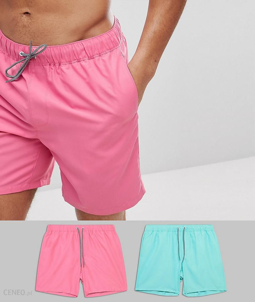 c4048fe8ee ASOS Swim Shorts In Pink & Turquoise Mid Length 2 Pack SAVE - Multi -  zdjęcie