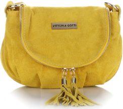 29fb8408276bd Małe Torebki Skórzane Listonoszki Vittoria Gotti wykonane w całości z  Zamszu Naturalnego Żółta - zdjęcie 1