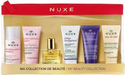 NUXE zestaw my beauty collection mini produkty woda micelarna 35ml + peeling 15ml + olejek 10ml + krem do twarzy 15ml + krem do rąk 15ml