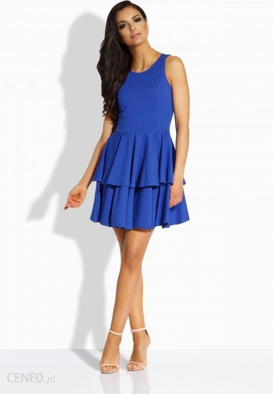 e8985c9497 Elegancka sukienka z podwójną falbaną chaber - Ceny i opinie - Ceneo.pl