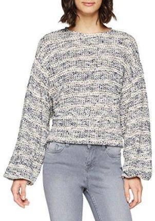 f1cd22620d9223 Amazon New Look sweter damski Stripe Textured Batwing - krój regularny 34