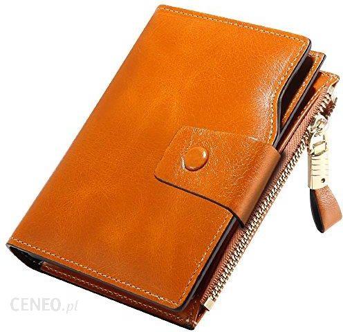 b91d9f0272b42 Amazon Przegródki na karty portfel damski z prawdziwej skóry z ochroną RFID,  krótki modelu Clutch