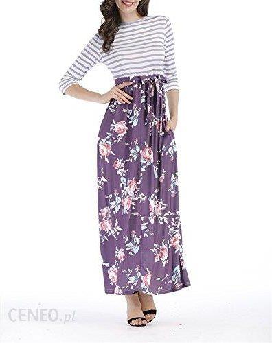 f167d985bf Amazon Druk voghtic długi rękaw paski spliced kwiat o długości Maxi sukienka  z torba - s
