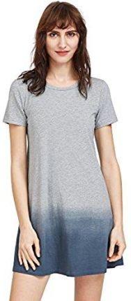 575f03e05b Amazon romwe damska torebka casual Tie-Dye sukienka plażowa z krótkim  rękawem bawełna A-