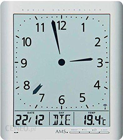 Amazon Ams Unisex Zegary ścienne Analog Digital Radiowy Tworzywo Sztuczne 21 X 24 Cm Srebrny 5898