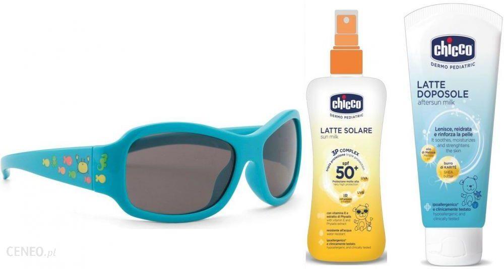 911630929479 Zestaw od CHICCO  Okulary przeciwsłoneczne dla dzieci Fluo Light Blue 24m +  Kosmetyki dla dzieci