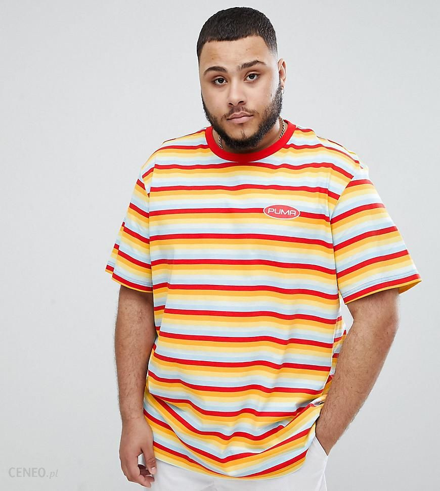 db1496684be9 Puma PLUS Organic Cotton T-Shirt In Retro Stripe In Orange Exclusive To  ASOS -