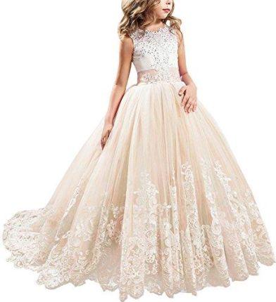 35fe6f7338 Amazon dziewcząt kwiat sukienka dziewczęca wesele z cekinami Appl wyzwolenia  koronka tiul Odświętna sukienka koktajlowa sukienka