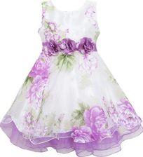 865e25b524 Amazon Sukienka dziewczęca tiul dla panny młodej-sznury z kwiatem detailing  liliowy - 146 fioletowy