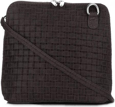 cc8e15723fa0a Mała Włoska Torebka Skórzana Listonoszka firmy Genuine Leather Czekoladowa  ...