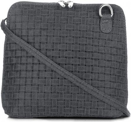 19e9b3c6af230 Mała Włoska Torebka Skórzana Listonoszka firmy Genuine Leather Grafitowa ...
