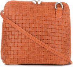 7e385a4ebe5b7 Mała Włoska Torebka Skórzana Listonoszka firmy Genuine Leather Pomarańczowa  ...