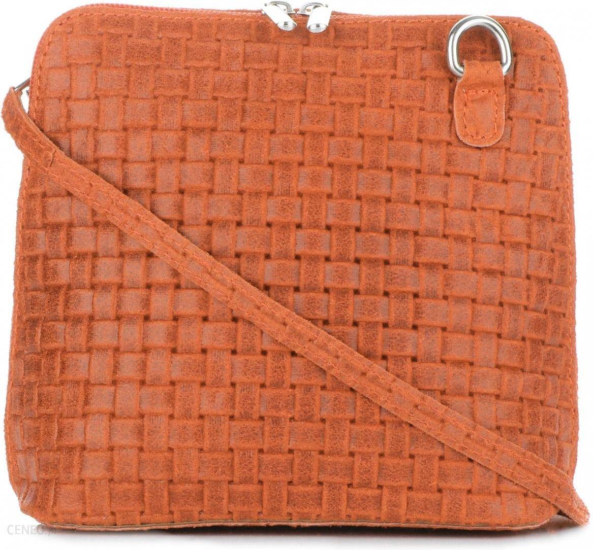 2d91efa328351 Mała Włoska Torebka Skórzana Listonoszka firmy Genuine Leather Pomarańczowa  - zdjęcie 1