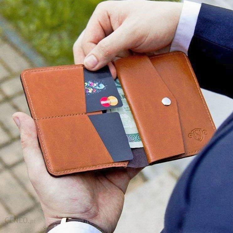 e48b4362a6591 Skórzany cienki portfel męski z bilonówką SOLIER SW15 SLIM jasny brąz -  jasny brązowy - zdjęcie
