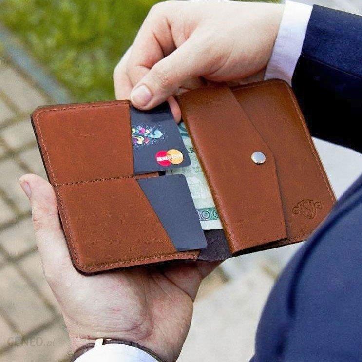 21dd323619fa3 Skórzany cienki portfel męski z bilonówką SOLIER SW15 SLIM brąz - Brązowy -  zdjęcie 1