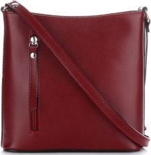 55b03fd4da83a Klasyczna Torebka Listonoszka Skórzana Genuine Leather Pelle Bordowa -  zdjęcie 1