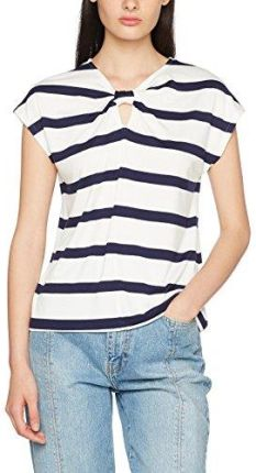 Amazon Warehouse damski T-Shirt Wide Stripe Twist Neck - krój regularny 34  biały 6aee4dcc1065e