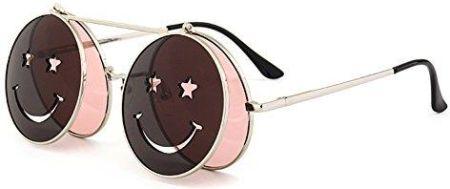 Amazon juleya Steampunk okragle soczewka rama metalowa Flip-Up-okulary  przeciwsloneczne do Mezczyzni Kobiety