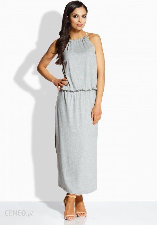 ac9b9f607a Lemoniade Długa elegancka sukienka z oryginalnym dekoltem L213 jasnoszara  r. L - zdjęcie 1