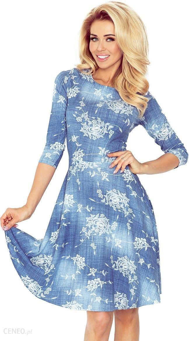 e0421b7078 Numoco Rozkloszowana sukienka z rękawkiem 3 4 49 jeansowa