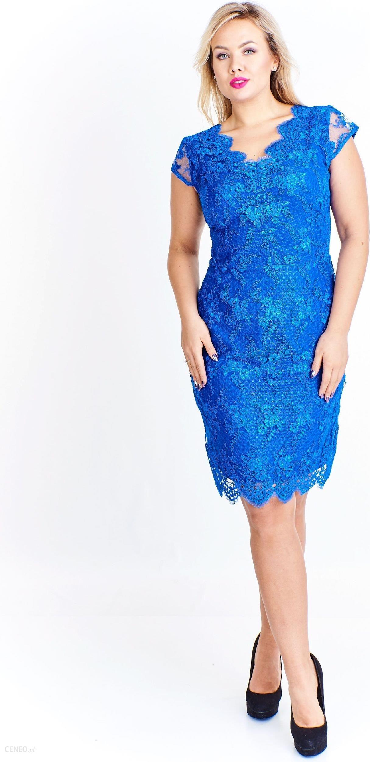 781cbb366a Ptak Moda Koktajlowa sukienka z koronki M51922 niebieska r. 42 - zdjęcie 1