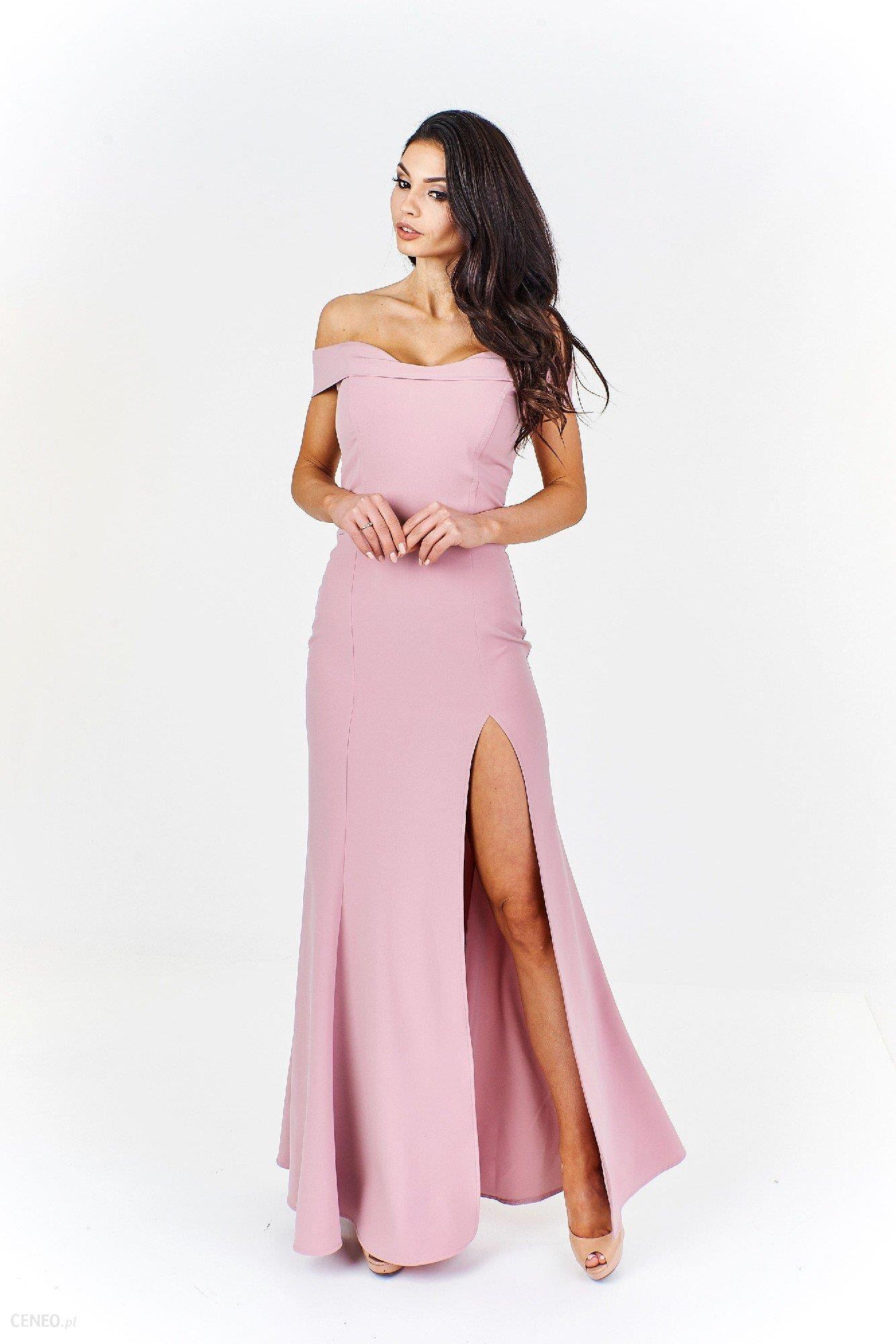 Ptak Moda Elegancka sukienka maxi M55510 pudrowy róż r. 40 Ceny i opinie Ceneo.pl